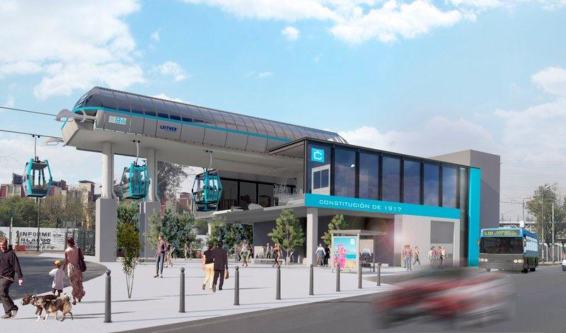 Cablebus station bleu