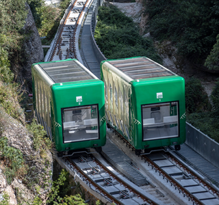 In the pilgrimage funicular railway to the Santa Cova chapel