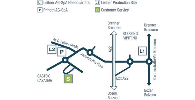 Itinéraire du service clientèle des LEITNER ropeways
