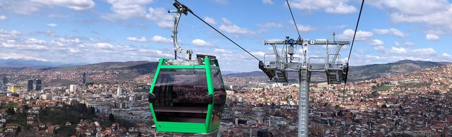 A ropeway as a symbol of peace